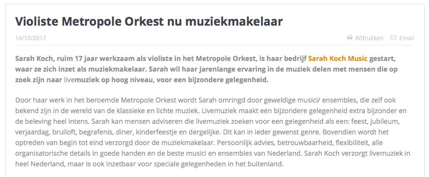 Sarah Koch Music Uitvaartmedia