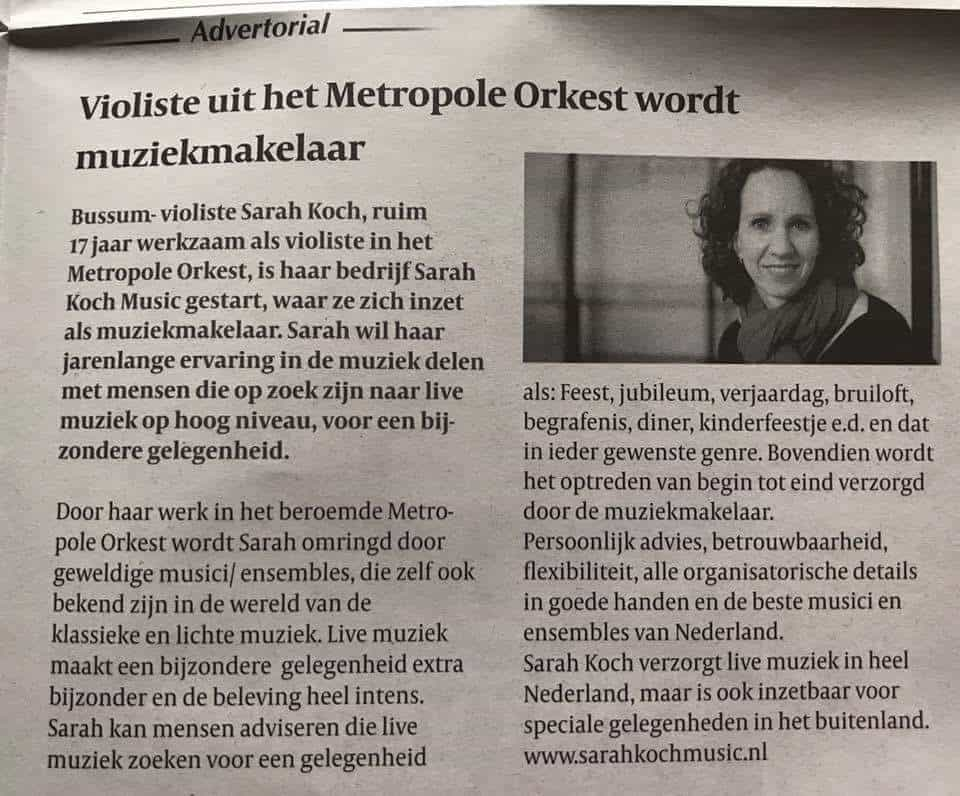 Sarah Koch Music (c) Baarnse Courant 27 oktober 2017